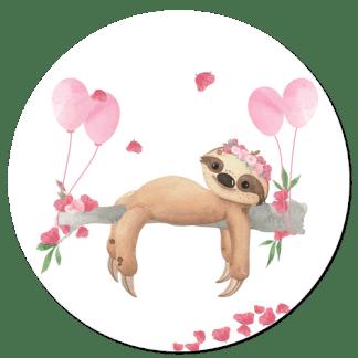 Wandcirkel/Wandsticker Luiaard meisje met ballon