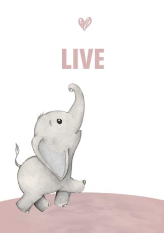 Kinderkamerposter Olifant Live