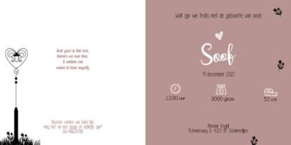 Geboortekaartje silhouette meisje bloemetjes