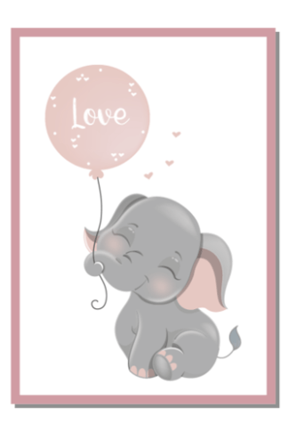Poster olifantje met ballon roze