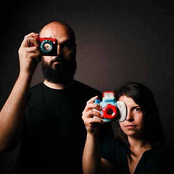 wedding photographer self portrait with camera toys headshot Patrick Daniel Monteiro Ana Raquel Pratas
