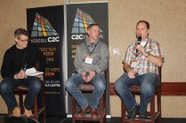 Mark Burch, C2C Network national associate director, (left) leads a discussion with Mark Wessner, pastor Westwood Church, Prince George and Rob Dyck, pastor Arnold Community Church, Abbotsford. (Photo by Gladys Terichow)