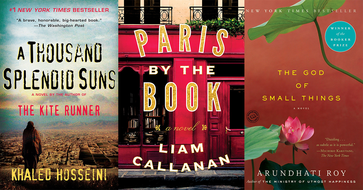 Book Covers: A Thousand Splendid Suns, Paris by the Book, The God of Small Things