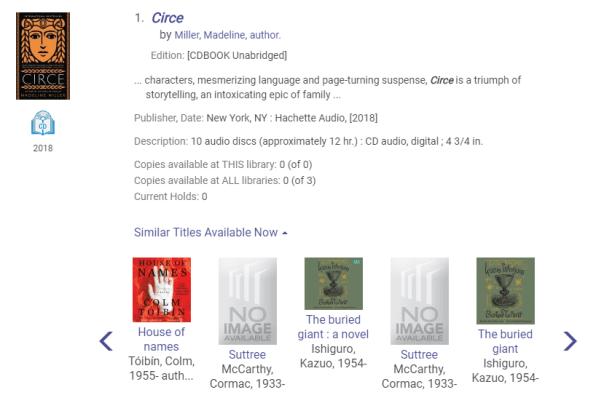 Similar titles displayed under catalog search result