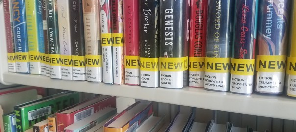 New books on a shelf