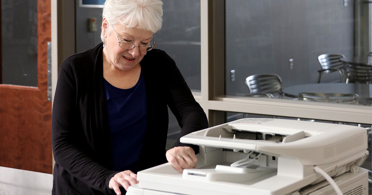 person using printer