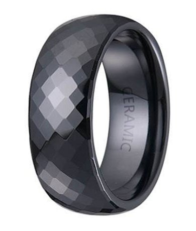 Mens Black Ceramic Ring Glossy Finish