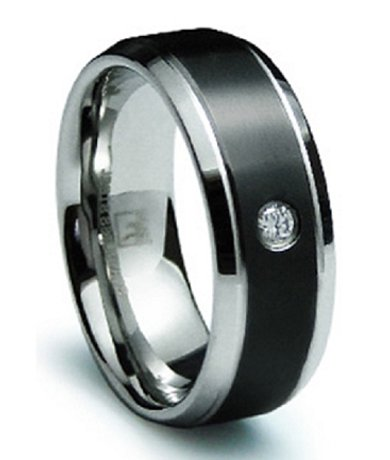 Mens Stainless Steel CZ Wedding Band Black Inlaid Finish