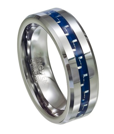 Mens Tungsten Ring Blue Carbon Fiber Inlay Polished