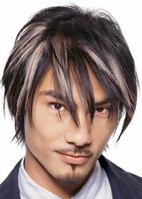 Asian Medium Layered Hair Style With Very Long Bangs