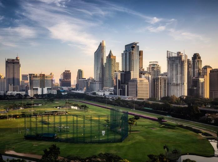 City View Morning Twilight of Ratchadamri Road Views over the Royal Bangkok Sports Club