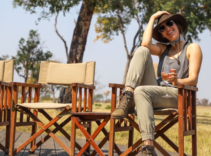 Editor Brittany Smith at Davison's Camp in Zimbabwe