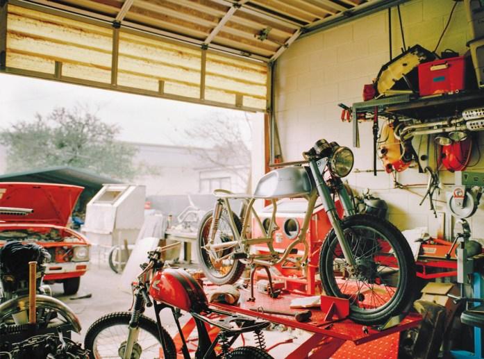 A bike gets a tune-up at Coastal Empire Moto.