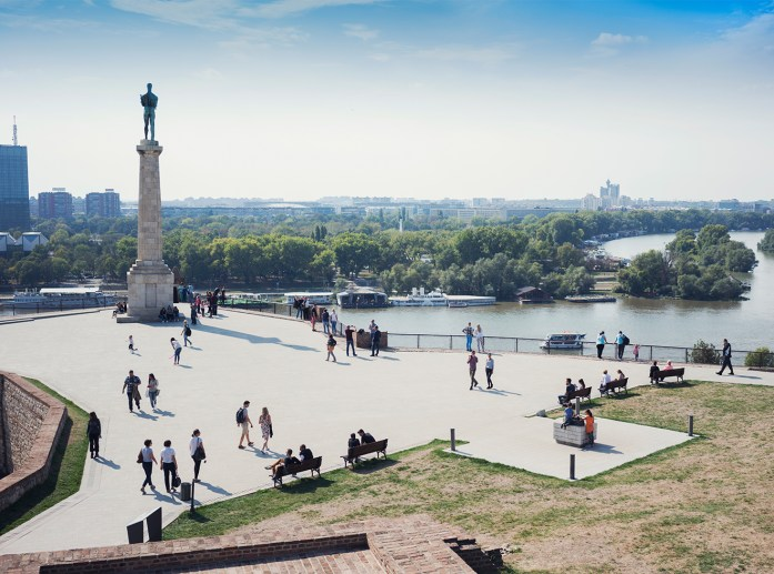 View from Belgrade fortress Kalemegdan to the delta of Danube and Sava