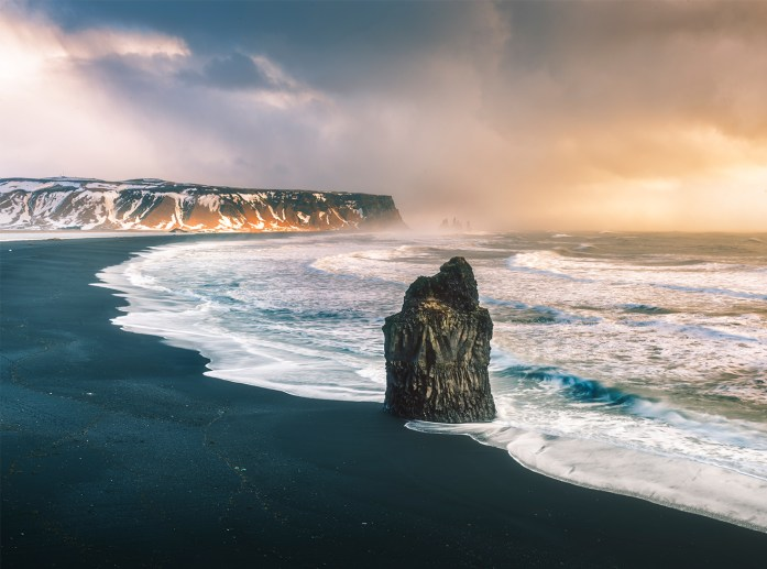 The black beach of Reynisfjara, Vik, Iceland