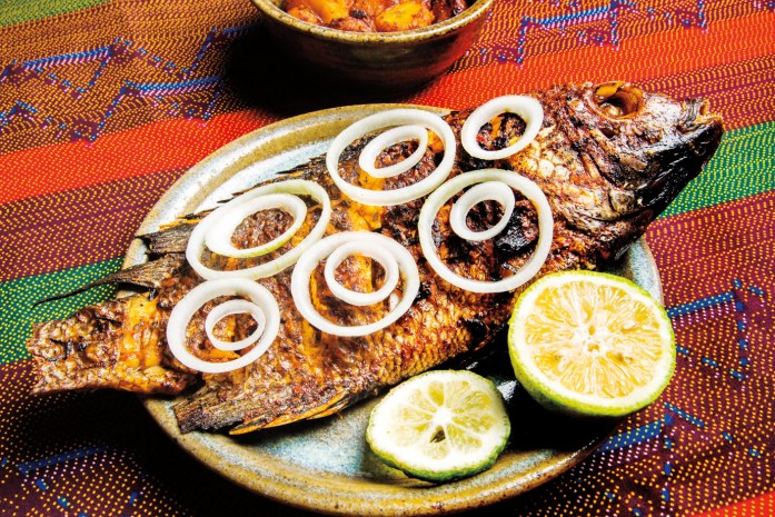 A whole-roasted fish dinner at Repub Lounge.