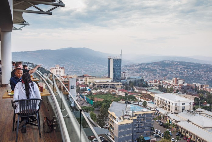 A view of downtown Kigali from the rooftop cafe of the Ubumwe Grande Hotel