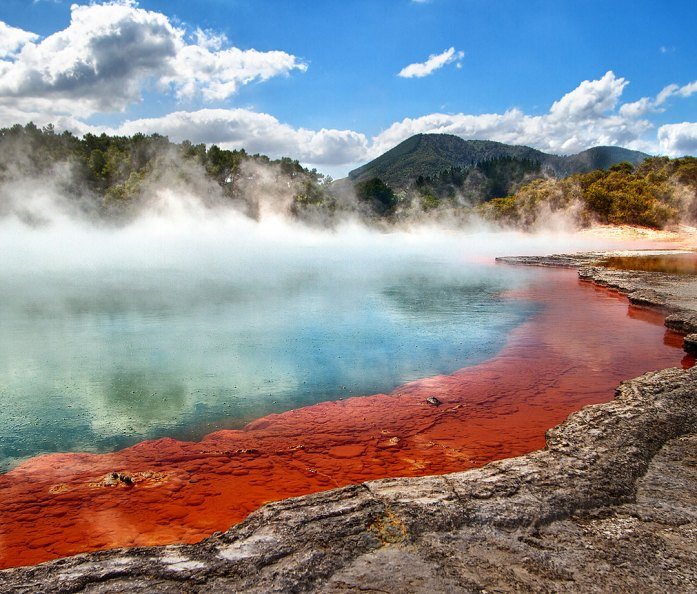 The famous Champagne Pool of Waiotapu in New Zealand