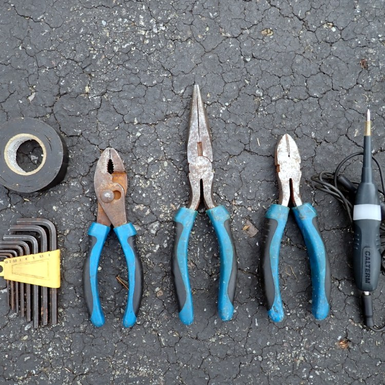 Electrical tape, hex keys, slip joint pliers, needle nose pliers, diagonal pliers, circuit tester