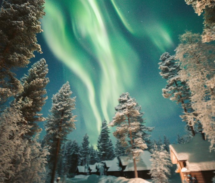 Northern lights at Aurora Village in Ivalo