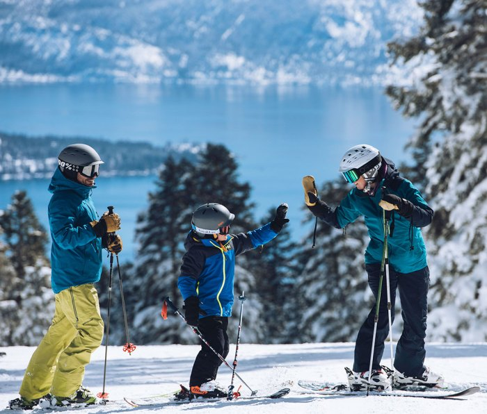Family skiing at Northstar California resort