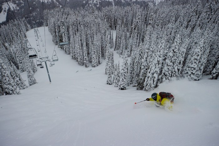 KC Deane skiing at Crystal Mountain.