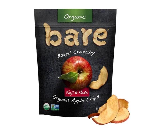 Een zakje met Bare Snacks Fuji & Reds Apple Chips.