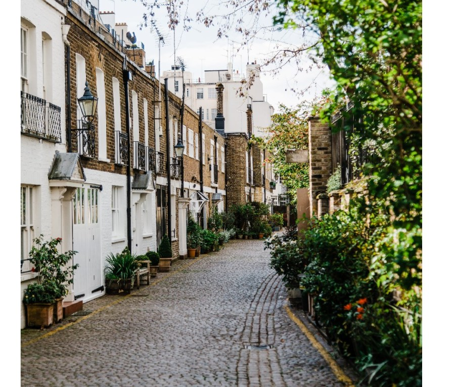 Empty cobblestone street with a charming row of homes