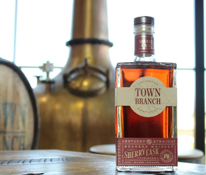 Bottle of Town Branch Sherry Cask-Finished Bourbon Whiskey on a table