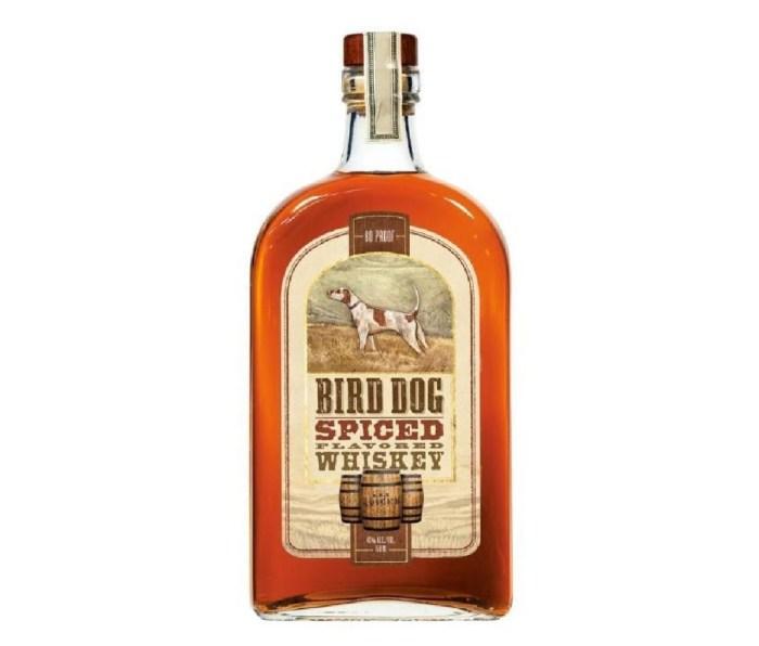 A bottle of Bird Dog Spiced Whiskey.