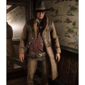 Montana Geniune Red Dead Redemption 2 Brown Leather Coat