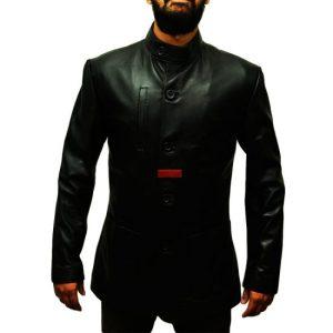 Slim Body Stylish Black Leather Coat