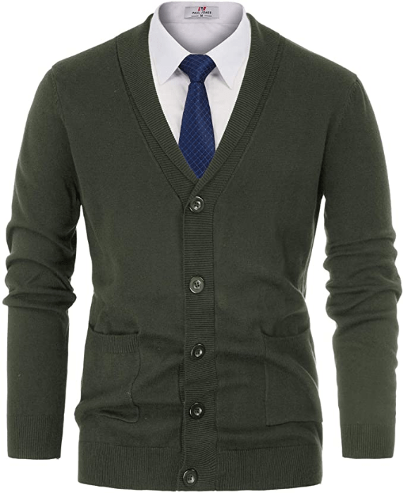 Men/'s Cashmere Jacquard Cardigan Sweater by Invisible World Gray or Olive