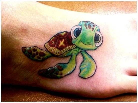 Green Feminine Turtle Tattoos