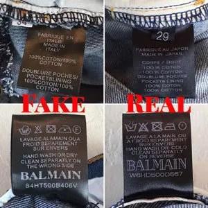 fake balmain jeans inside tag