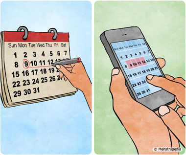 Illustration of tracking menstrual cycle by marking dates on a calendar or using a mobile application to mark the dates - Menstrupedia