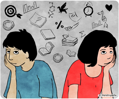 Illustration of a boy and a girl sitting sadly feeling uncertain about future - Menstrupedia