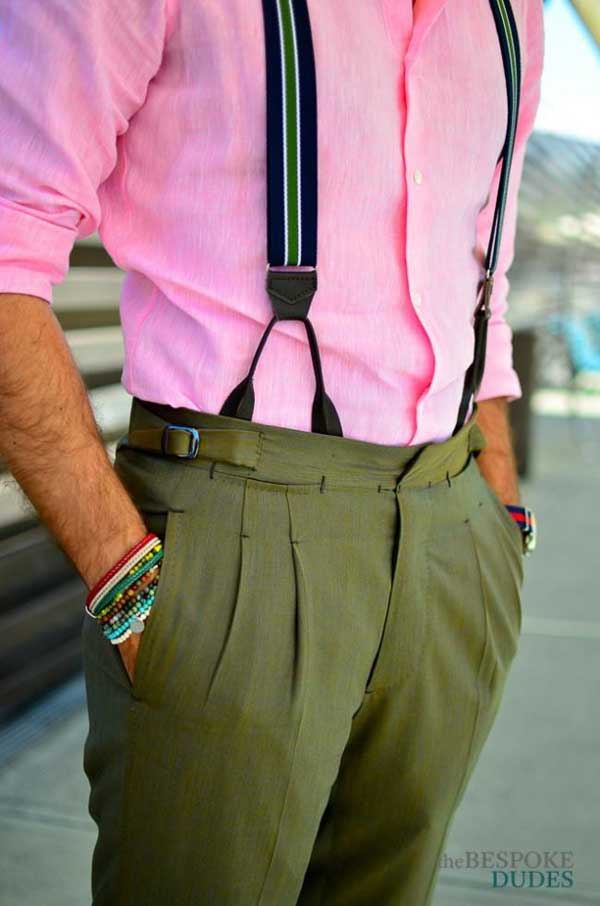 Braces Suspenders for men with pink shirt