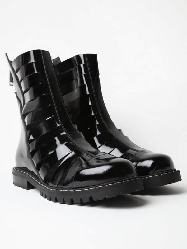 black men's boots patent leather