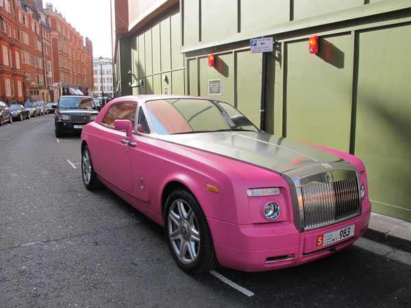 Bentley, pink at Harrods