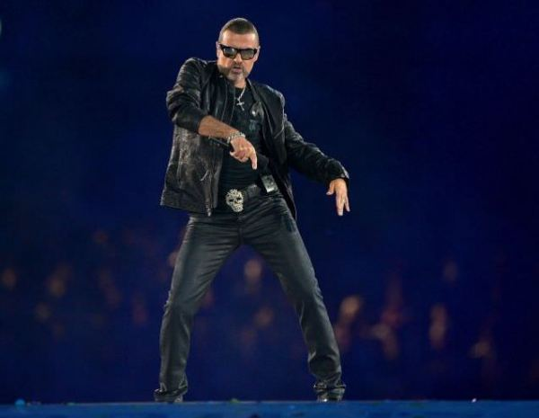 George Michael wearing leather trousers at London Olympics 2012