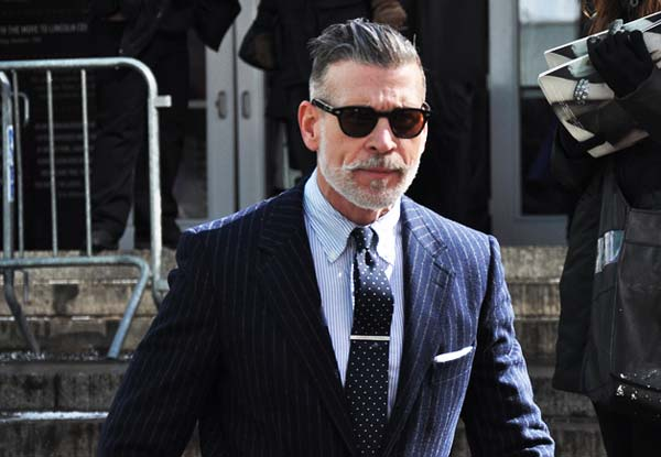 Nick Wooster dotted tie and pinstripe suit