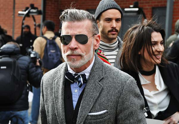 Nick Wooster, black and white bow ties