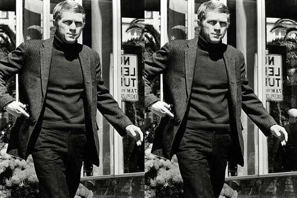Steve mcQueen wearing a Turtleneck Shirt