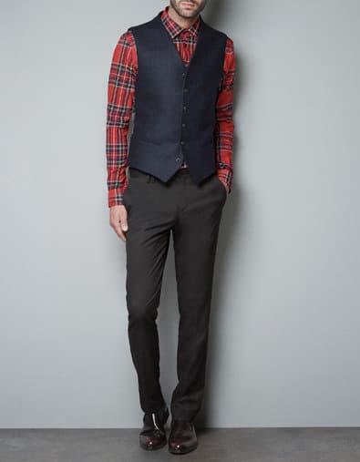 zara men, blue waistcoat