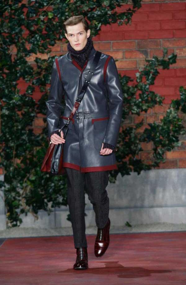 Tommy Hilfiger black leather Jacket with burgundy fringes