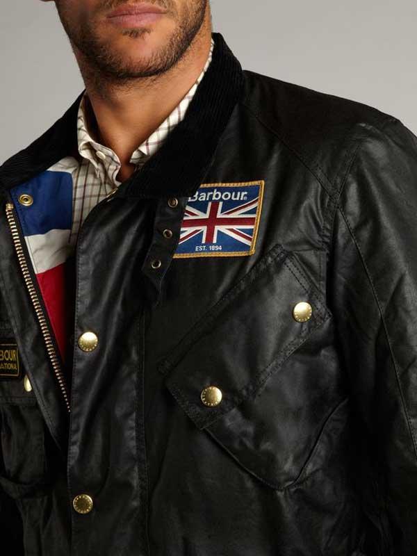 Barbour Men Union Jack International Waxed Jacket Black