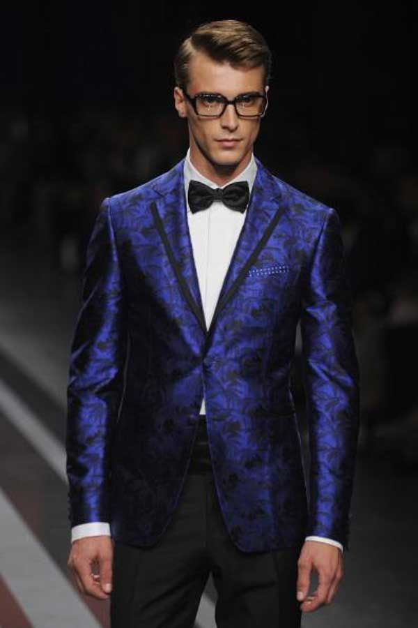 Canali with bow tie dark blue dinner suit