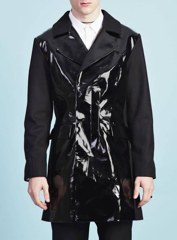 TMD black patent jacket Topman