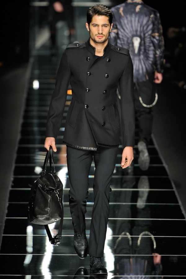 Versace black military coat 2012